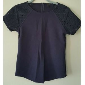 J. Crew Lace Top Embroidered Eyelet Navy Tee Shirt